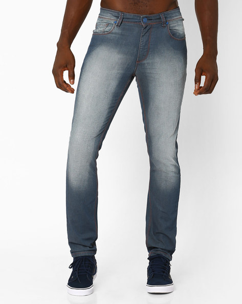 Heavily Washed Slim Fit Jeans By Blue Saint ( Blue )