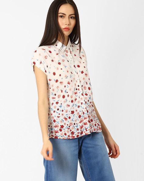 Floral Print Rayon Shirt By Pepe Jeans ( Offwhite )