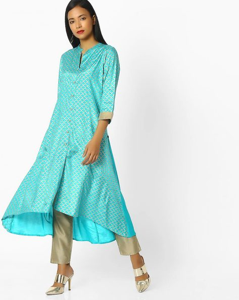 Flared Kurta With Button Placket By AVAASA MIX N' MATCH ( Turquoise )