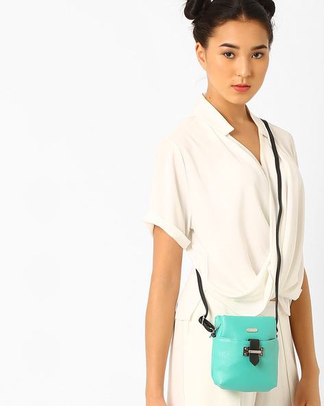 Sling Bag With Adjustable Strap By Lavie ( Turquoise )