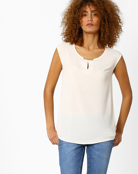 Sleeveless Top With Curved Hemline By Annabelle By Pantaloons ( Offwhite )