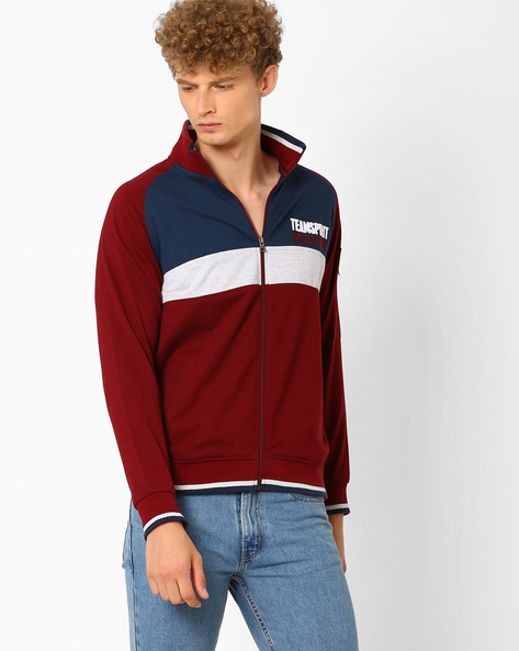 High-Neck Colourblock Regular Fit Sweatshirt By TEAM SPIRIT ( Blue )