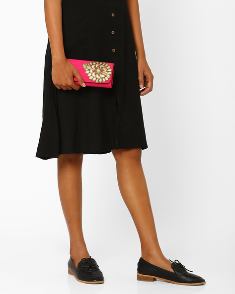 Ethnic Clutch With Embellishment By Tarusa ( Pink )