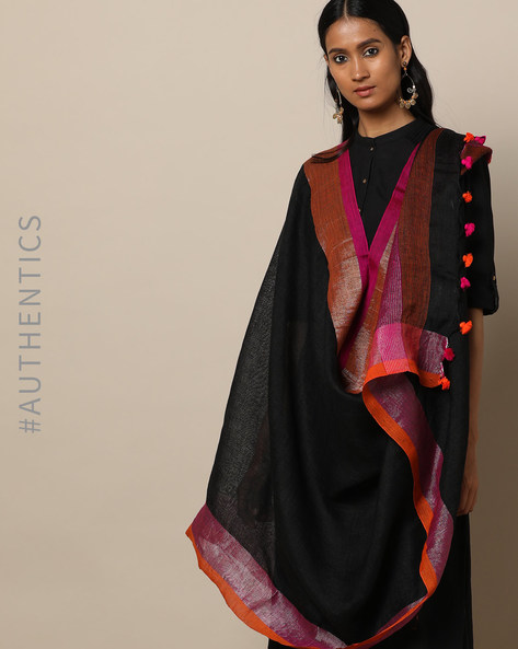 Handloom Linen Dupatta With Pom-Pom Detail By Indie Picks ( Black )
