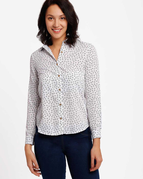Printed Shirt By Annabelle By Pantaloons ( White )