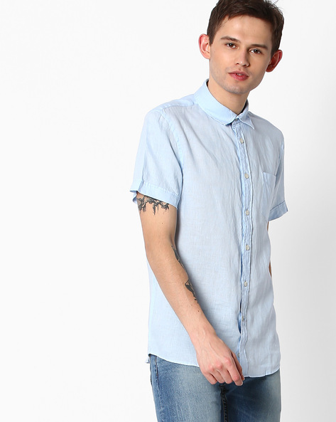 Pure Linen Shirt With Patch Pocket By Celio ( Lightblue )
