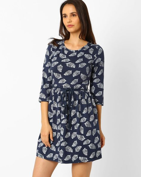 Printed Fit & Flare Dress With Belt By Wills Lifestyle ( Blue )