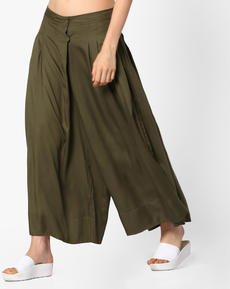 Mid-Rise Palazzos With Box Pleats By PE WW Casual ( Olive )