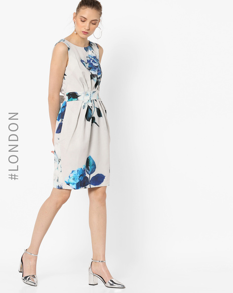 Floral Print Sheath Dress By Closet London ( Multi ) - 460141592005