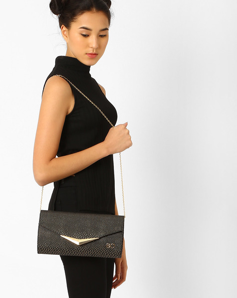 Embossed Clutch With Metallic Detail By E2O ( Black )