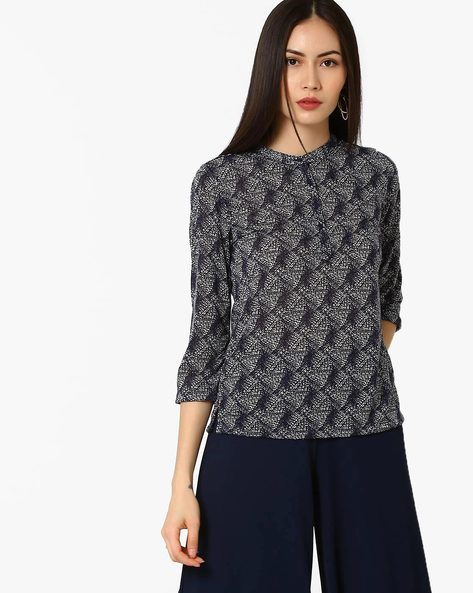 Printed Top With Mandarin Collar By BOSSINI ( Black ) - 460064582001