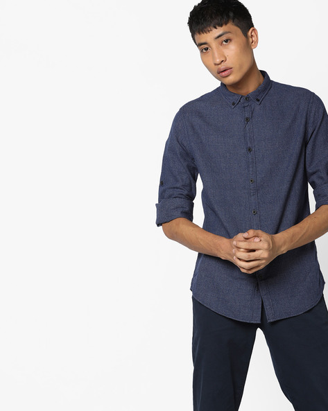 Slim Fit Shirt With Button-Down Collar By AJIO ( Navy )