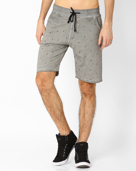 AOP Cotton Regular Fit Shorts By Garcon ( Grey )