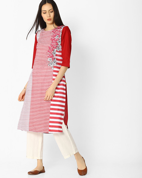 Printed Cotton Kurta By AURELIA ( Red )