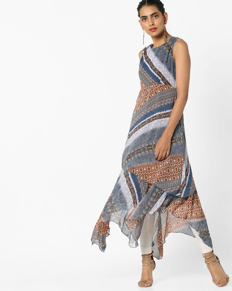 Printed Dress With Asymmetrical Hem By Rain & Rainbow ( Blue )