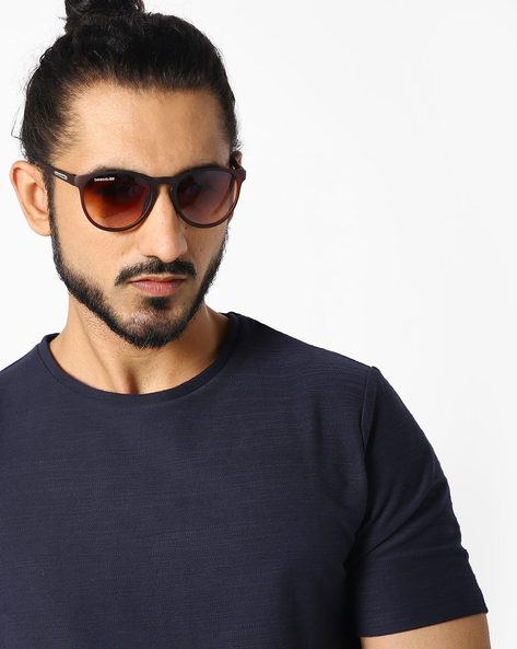 Round Sunglasses With Brow Bar By DANNY DAZE ( Brown )