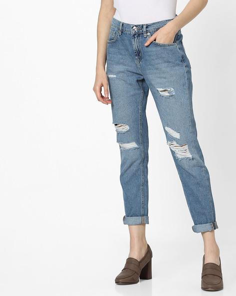 Slim Fit Distressed Jeans By Vero Moda ( Fuschiablue )