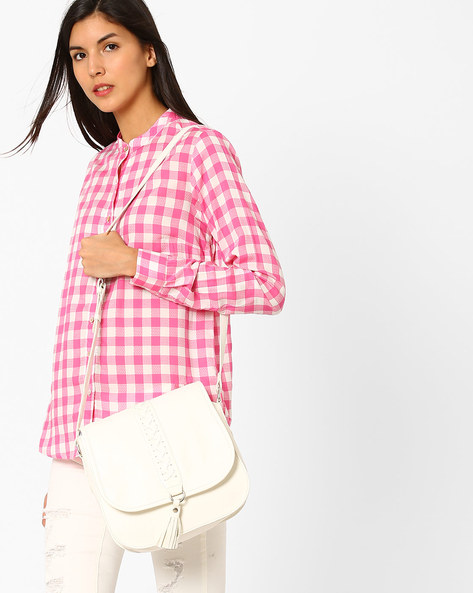 Checked Shirt With Mandarin Collar By Pepe Jeans ( Pink )