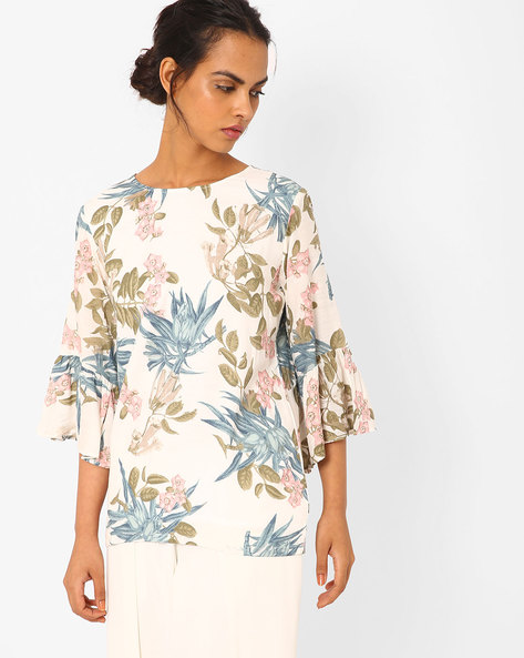 Floral Print Top With Bell Sleeves By Vajor ( White )
