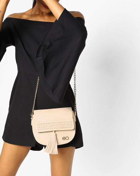 Textured Sling Bag With Chain Strap By E2O ( Beige )