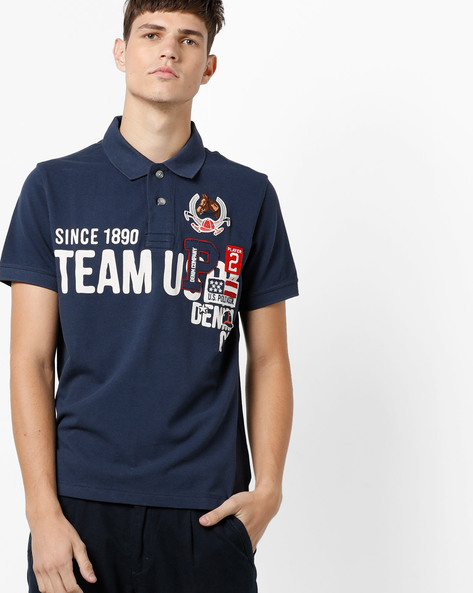 Typographic Print Polo T-shirt By US POLO ( Assorted )