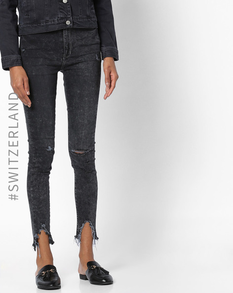 Skinny Fit Distressed Jeans By TALLY WEiJL ( Black )