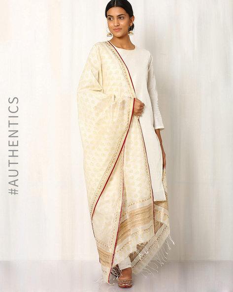 Hand Block Print Maheshwari Dupatta By Indie Picks ( Offwhite )