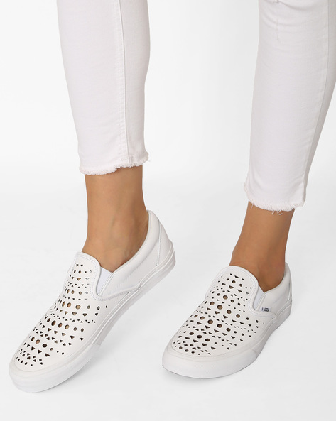 Classic Slip-Ons With Cutouts By Vans ( White )
