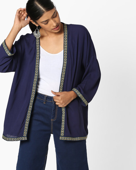 Open-Front Shrug With Embroidered Taping By DNMX ( Navy )