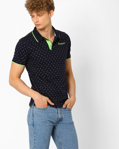 Printed Slim Polo T-shirt By TEAM SPIRIT ( Navy )