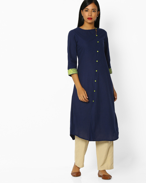 Flared Kurta With Asymmetrical Button Placket By AVAASA MIX N' MATCH ( Navy )