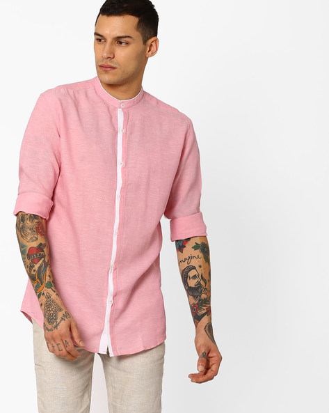 Slim Fit Shirt With Curved Hem By British Club ( Pink )