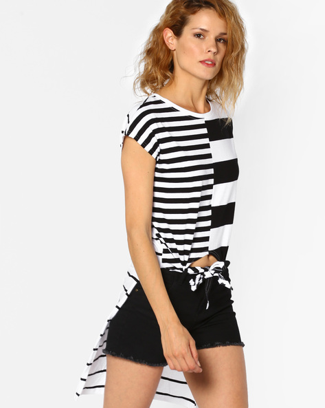 Striped High-Low Top By Evah London ( Multi )
