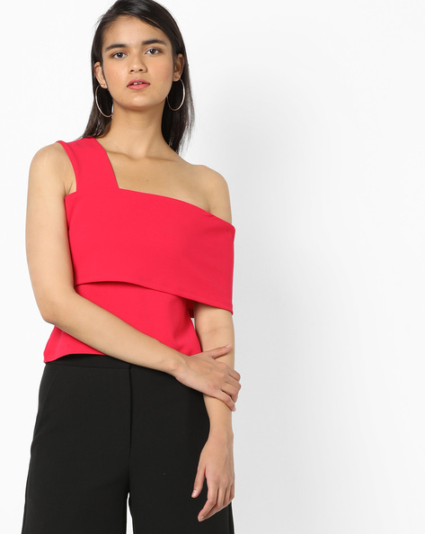 One-Shoulder Top With Bodice Overlay By AJIO ( Magenta )