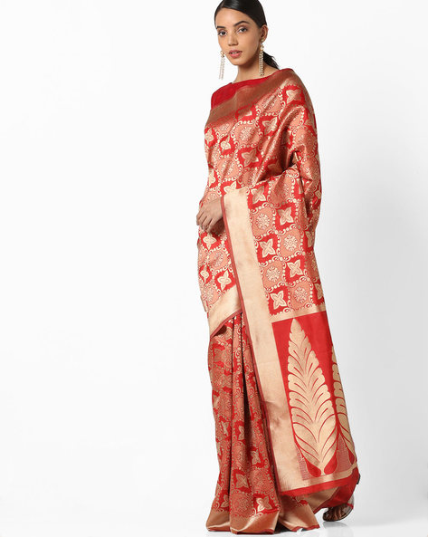 Banarasi Woven Saree With Zari Border By Parmita ( Red )