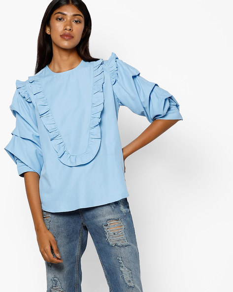 Cotton Top With Layered Sleeves By AJIO ( Blue )