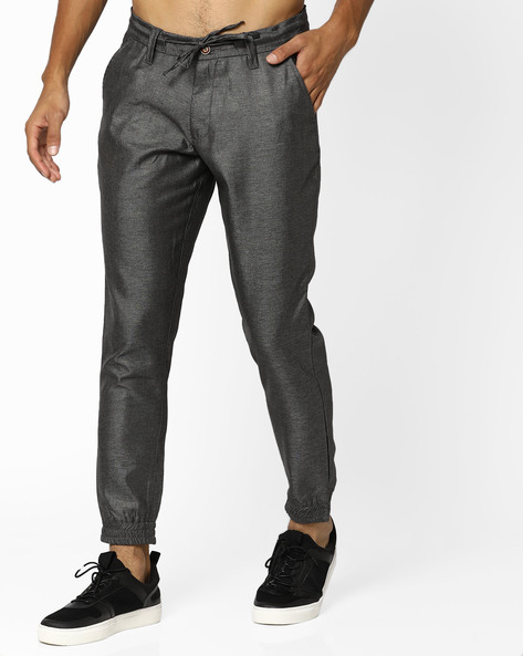 Joggers With Drawstring Waist By AJIO ( Brown )