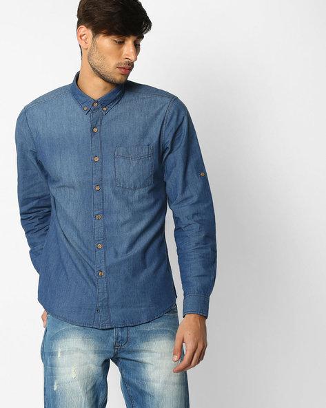 Regular Fit Denim Shirt By NETPLAY ( Darkblue )