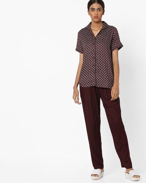 Floral Print Top And Pyjama Set By Clovia ( Maroon )