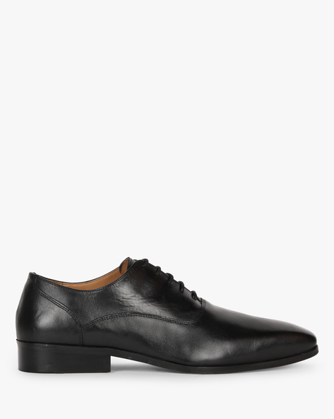 Genuine Leather Formal Shoes With Lace-Ups By Hats Off Accessories ( Black )