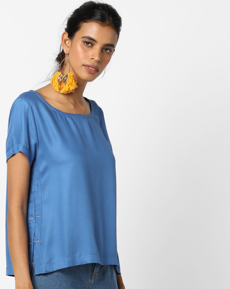 Round-Neck Top With Side Slits By UNITED COLORS OF BENETTON ( Blue )