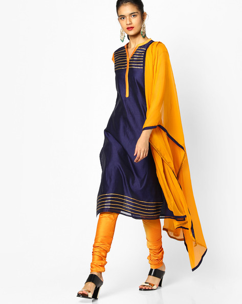 Kurta Suit Set With Dupatta By AJIO ( Navy )
