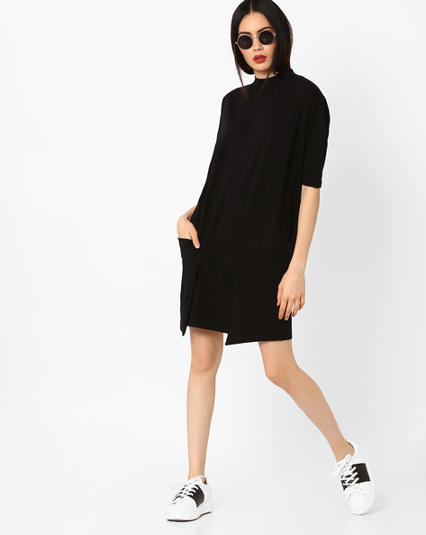 Jersey Dress With Drop-Shoulders By AJIO ( Black )