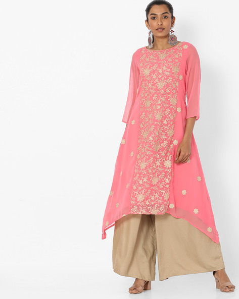 Embroidered Kurta With Palazzo Pants By Melange By Lifestyle ( Pink )