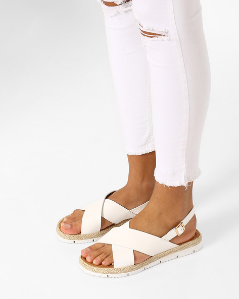 Strappy Flatforms With Buckle Closure By AJIO ( White )