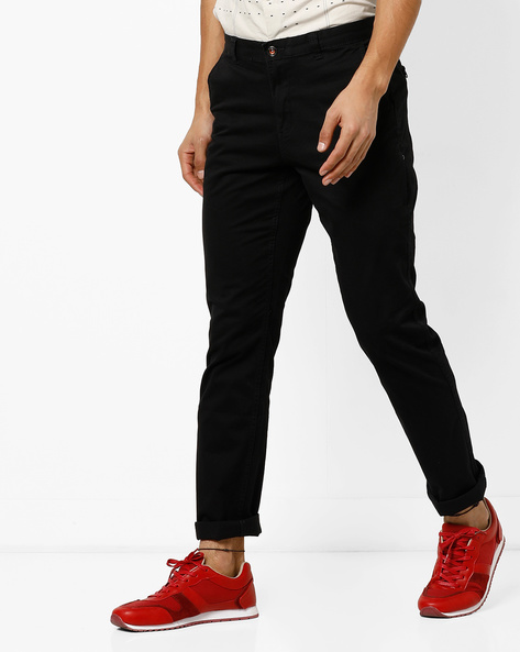 Mid-Rise Flat-Front Chinos By NETPLAY ( Black )
