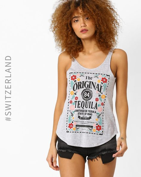 Graphic Print Tank Top By TALLY WEiJL ( Grey )