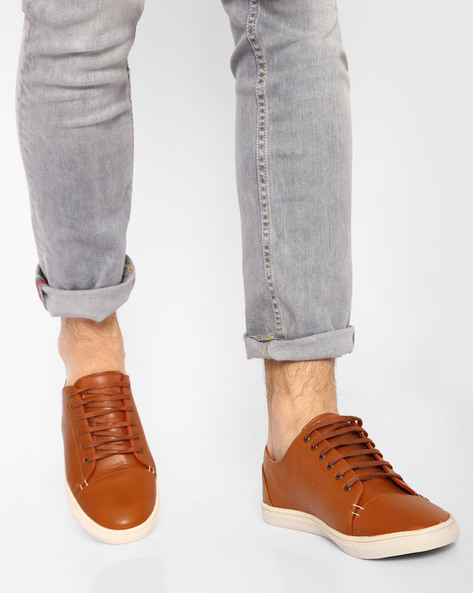 Low-Top Casual Shoes With Lace-Ups By USPA ( Tan )