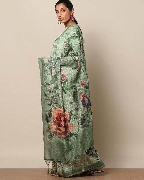 Textured Printed Designer Saree By Rudrakaashe-MSU ( Olive )