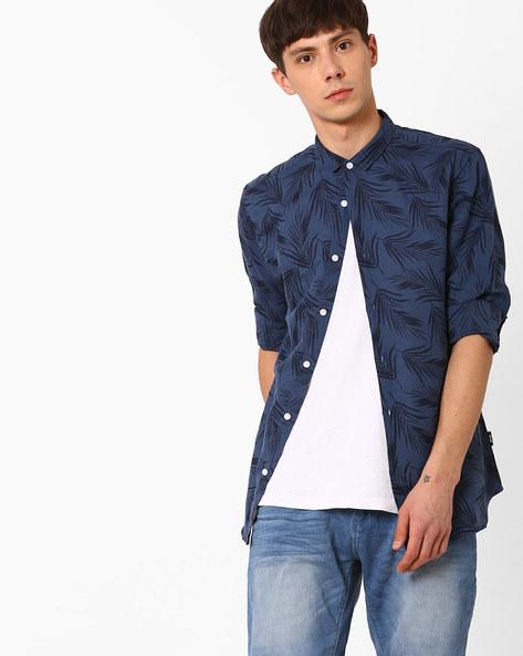 Printed Slim Fit Shirt By Jack & Jones ( Blue )